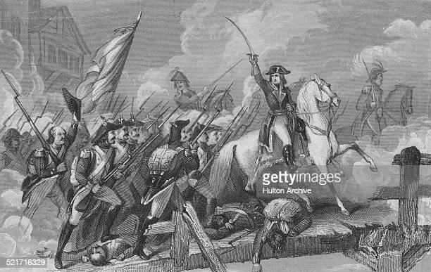 General Napoleon Bonaparte leads his Army of Italy over the bridge against the defending Habsburg Austrian forces at the Battle of Lodi during the...