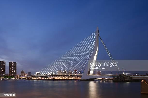 General night view Erasmus Bridge Rotterdam Netherlands Architect Ben van Berkel 1996
