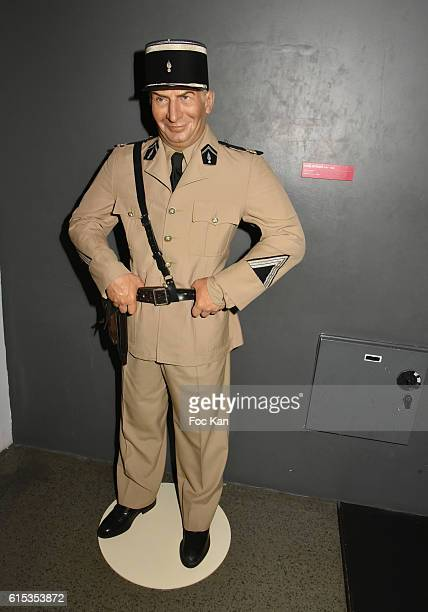 General night view of atmosphere with wax work of Louis de Funes as Gendarme de Saint Tropez during 'Les Nuits Grands Frissons A Grevin' Launch Party...