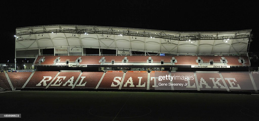 General night view of Rio Tinto Stadium which is home to the MLS team, Real Salt Lake, April 19, 2014 in Sandy, Utah.