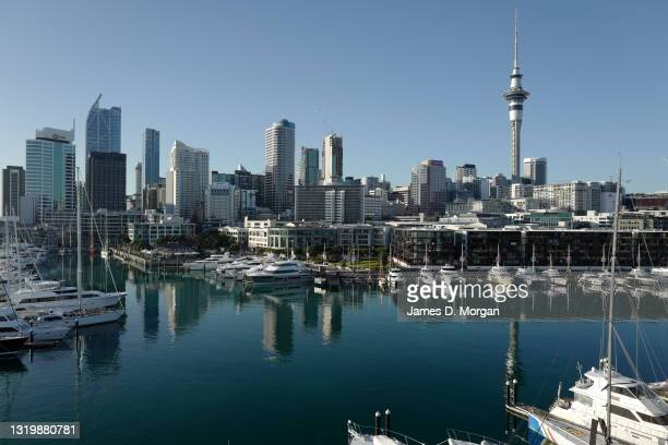 General nightime view of the Auckland skyline as seen from the new Park Hyatt hotel in the Viaduct Basin area of the city on May 16, 2021 in...