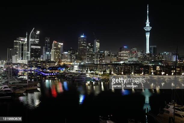 General nightime view of the Auckland skyline as seen from the new Park Hyatt hotel in the Viaduct Basin area of the city on May 15, 2021 in...