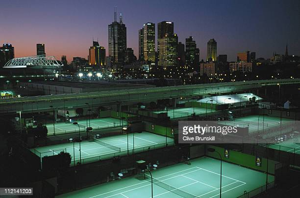 A general nightime view of the outside courts and the Melbourne skyline at the Australian Open Tennis Championships on 23rd January 2002 in Flinders...