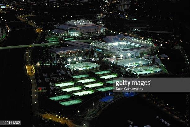 A general nightime view of the outside courts and the Rod Laver Arena at the Australian Open Tennis Championships on 23rd January 2002 in Flinders...