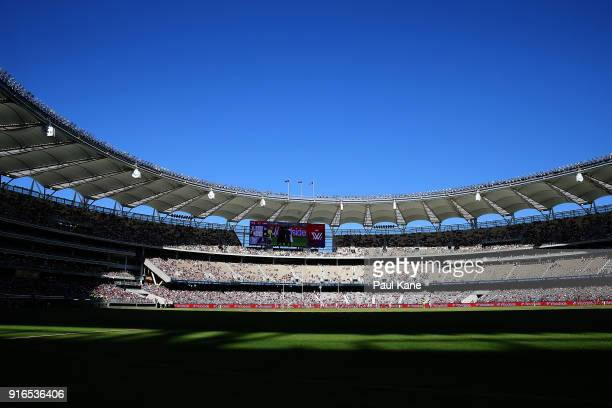 A general of play during the round two AFLW match between the Fremantle Dockers and the Collingwood Magpies at Optus Stadium on February 10 2018 in...