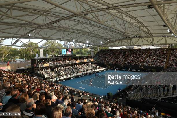 A general of play during the singles match between Ashleigh Barty of Australia and Marketa Vondrousova of the Czech Republic on day five of the 2020...