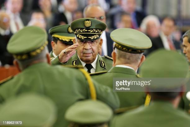 General of the Armed Forces Ahmed Gaid Salah attends the swearing-in ceremony for Algerian President Abdelmadjid Tebboune in Algiers, Algeria,...