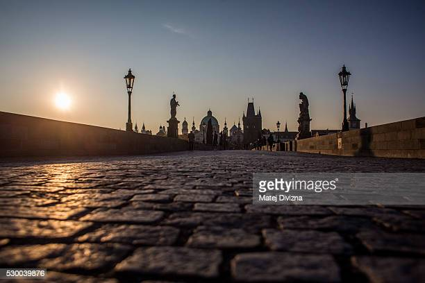 A general of the Charles Bridge during a sunrise on May 10 2016 in Prague Czech Republic The Charles Bridge construction began in 1357 by Charles...