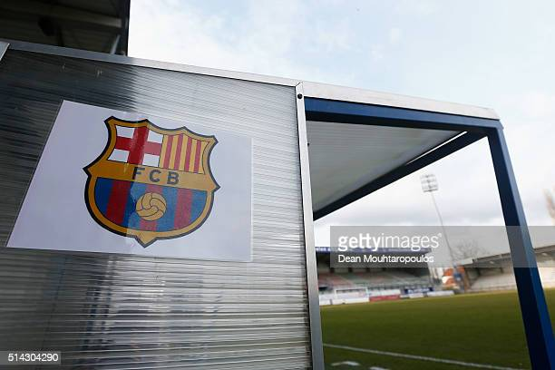 A general of the FCB logo on the bench prior to the UEFA Youth League Quarterfinal match between Anderlecht and Barcelona held at Van Roy Stadium on...