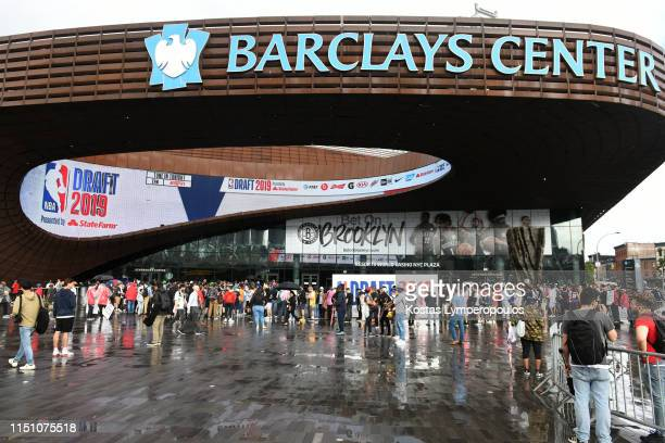 A general of the outside of the Barclays Center before the 2019 NBA Draft on June 20 2019 at the Barclays Center in Brooklyn New York NOTE TO USER...