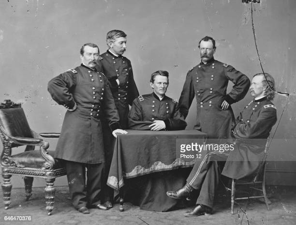 General of the Union Philip Sheridan standing right and his Staff officers during the American Civil War 186065