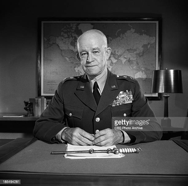 """General Omar Bradley of the United States Army on THE TWENTIETH CENTURY. Episode, """"D-Day: Buildup."""" Image dated October 1, 1957."""