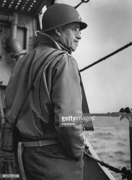 General Omar Bradley of the US Army nears the Normandy coast on Admiral Kirk's flagship 'USS Augusta', on D-Day during World War II, 6th June 1944.