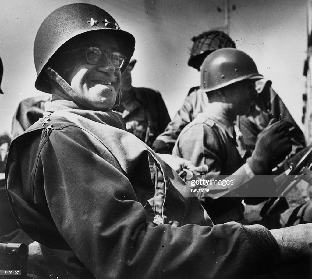 General Omar Nelson Bradley (1893 - 1981) American General, in a jeep at his roadside command post during the Invasion of France, August 7, 1944.