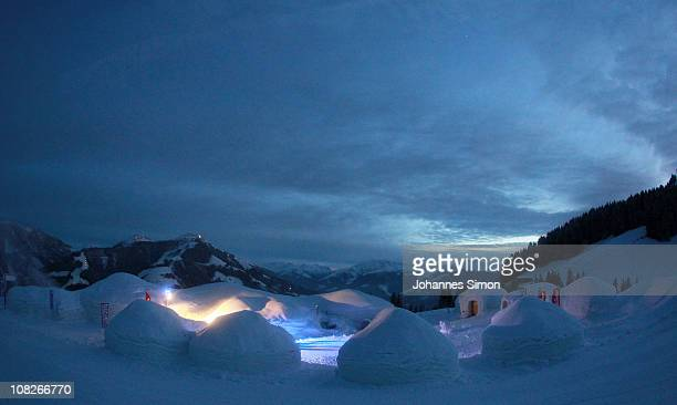 General outside view of the Alpeniglu hotel at Hochbrixen is taken during dusk on January 23 2011 in Brixen im Thale Austria The hotel is built...