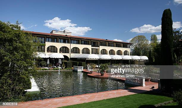 General outside view of the main building of Hotel Giardino seen from the garden on April 16 in Ascona Switzerland The German soccer national team...