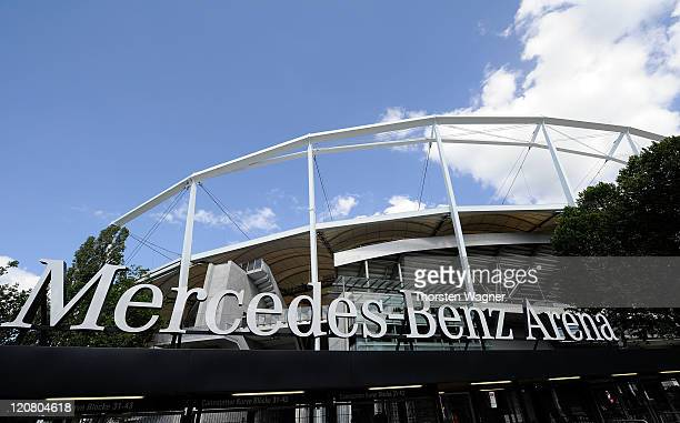 General outside view of the stadium pictured prior to the International friendly match at Mercedes Benz Arena on August 10 2011 in Stuttgart Germany