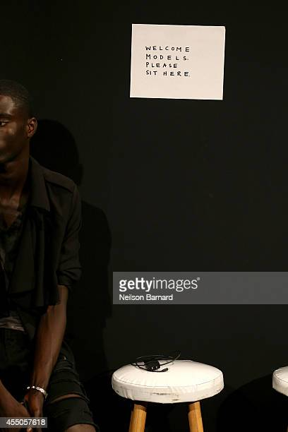 General overall atmosphere shot backstage at the Skingraft fashion show during Mercedes-Benz Fashion Week Spring 2015 at The Pavilion at Lincoln...