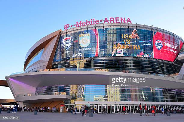 A general overall exterior view of the USA Basketball Men's National Team against Argentina during the USA Basketball Showcase at TMobile Arena on...