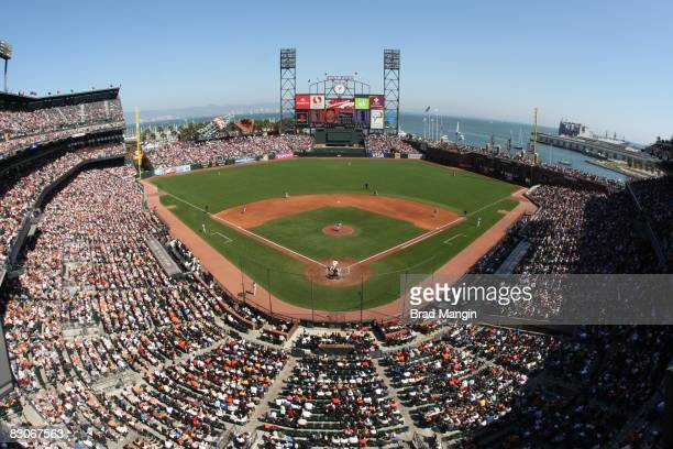 General overall stadium view of the San Francisco Giants home ballpark ATT Park during the game against the Los Angeles Dodgers at ATT Park in San...