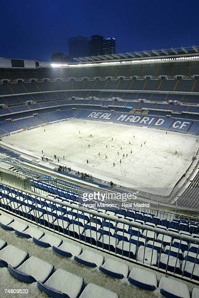 A general overall view inside of Real Madrid's Santiago Bernabeu stadium with snow on February 18 2003 in Madrid Spain