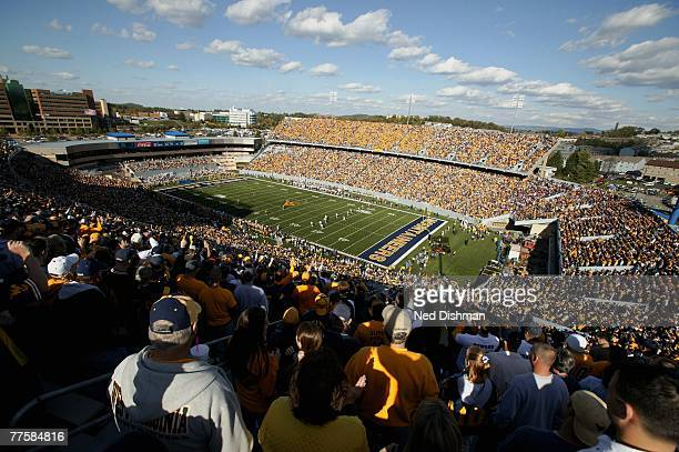 A general overall view of Milan Puskar Stadium during game between the West Virginia University Mountaineers against the Mississippi State Bulldogs...