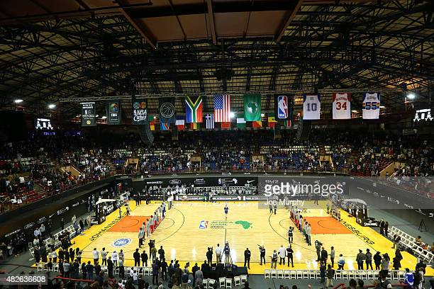 General overall view of Team World against Team Africa during the NBA Africa Game 2015 as part of Basketball Without Boarders on August 1, 2015 at...
