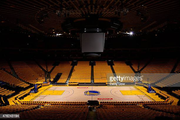 A general overall view of the court of Golden State Warriors during the Finals on June 6 2015 at Oracle Arena in Oakland California NOTE TO USER User...
