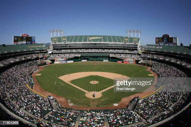 General overall view of the McAfee Coliseum during the game between the Oakland Athletics and the Baltimore Orioles in Oakland, California on...