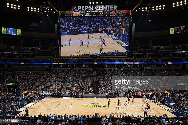 A general overall view of the Portland Trail Blazers versus the Denver Nuggets on November 9 2015 at the Pepsi Center in Denver Colorado NOTE TO USER...