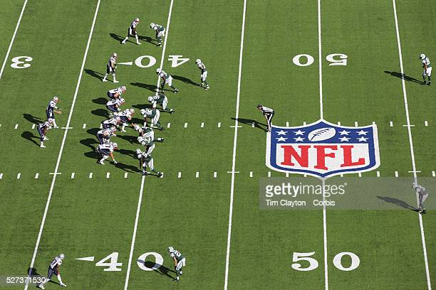 A general overhead view of action showing the NFL logo and field markings during the New York Jets V New England Patriots NFL regular season game at...