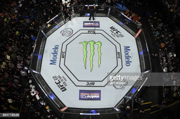 A general overhead view of the Octagon during the UFC 220 event at TD Garden on January 20 2018 in Boston Massachusetts