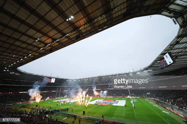 A general overview as the players run out prior to the Old Mutual Wealth Series match between England and Australia at Twickenham Stadium on November...