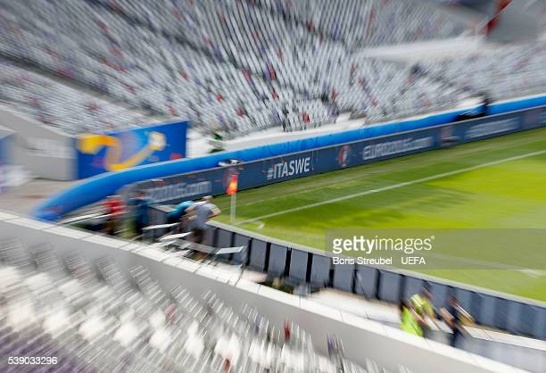 A general overview at stadium de Toulouse with a hashtag announcing the match between Italy and Sweden ahead of the UEFA Euro 2016 on June 9 2016 in...