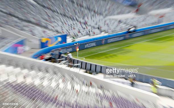 A general overview at stadium de Toulouse with a hashtag announcing the match between Russia and Wales ahead of the UEFA Euro 2016 on June 9 2016 in...