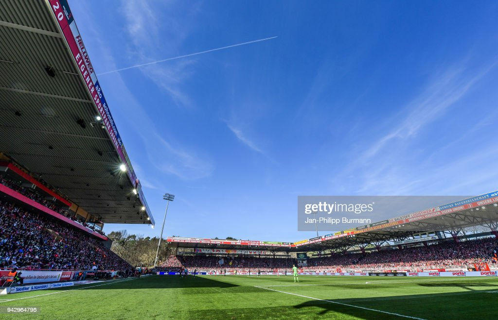 general overview during the 2nd Bundesliga game between Union Berlin and MSV Duisburg at Stadion an der alten Foersterei on April 7, 2018 in Berlin, Germany.