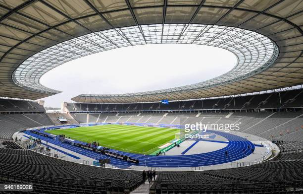 general overview im Olympiastadion before the Bundesliga game between Hertha BSC and 1st FC Koeln at Olympiastadion on April 14 2018 in Berlin Germany