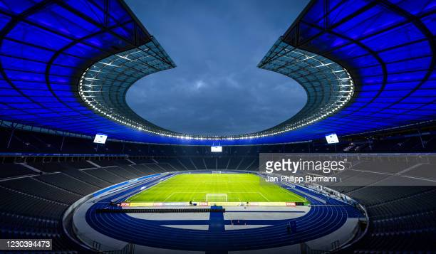 General overview in the empty Olympiastadion Berlin before the Bundesliga match between Hertha BSC and FC Schalke 04 at Olympiastadion on January 2,...
