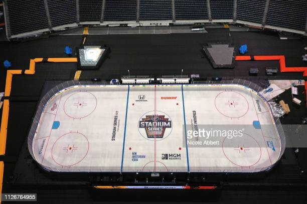 A general overview is seen during the rink build out at Lincoln Financial Field on February 11 2019 in Philadelphia Pennsylvania