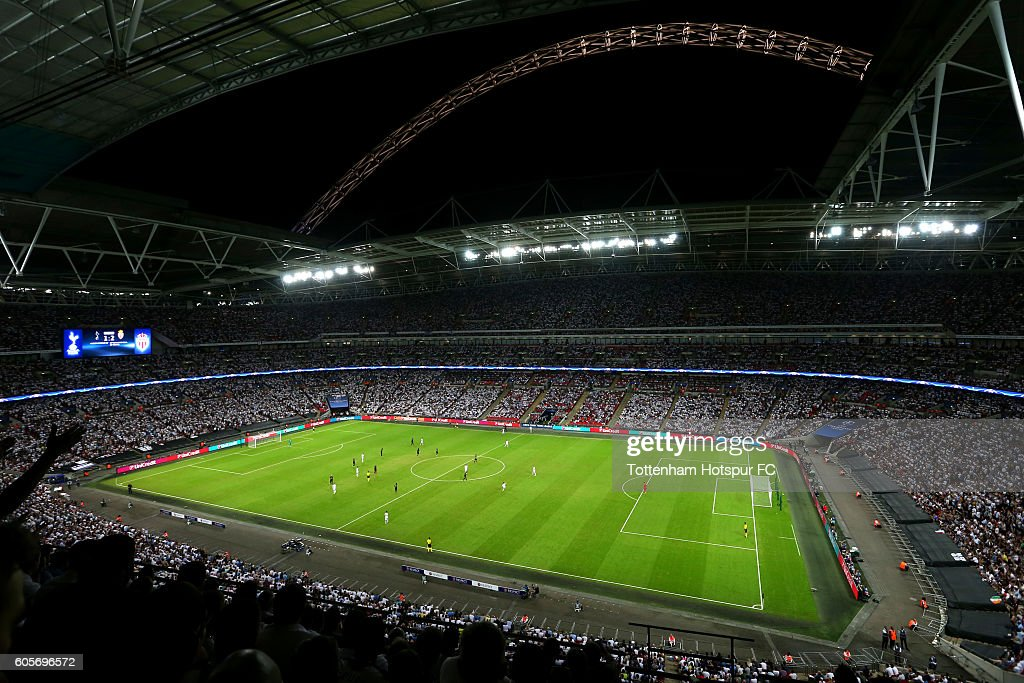 A general overview of action inside the stadium during the UEFA Champions League match between Tottenham Hotspur FC and AS Monaco FC at Wembley Stadium on September 14, 2016 in London, England.