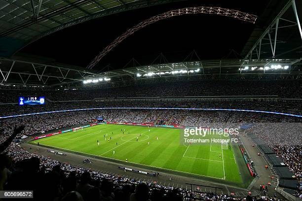A general overview of action inside the stadium during the UEFA Champions League match between Tottenham Hotspur FC and AS Monaco FC at Wembley...
