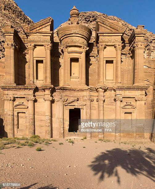 General overview of Ad Deir the Monastery at the ancient Nabatean city of Petra on October 16 2016 in Petra Jordan