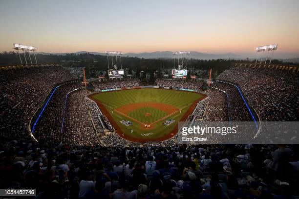 A general overview of Dodger Stadium is seen in Game Four of the 2018 World Series at Dodger Stadium on October 27 2018 in Los Angeles California