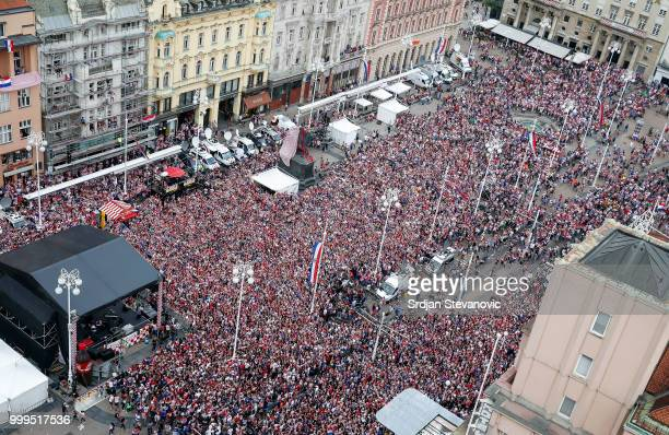 General overview of Josip Ban Jelacic square during the Final match on July 15 2018 in Zagreb This is the first time Croatia has reached the final of...