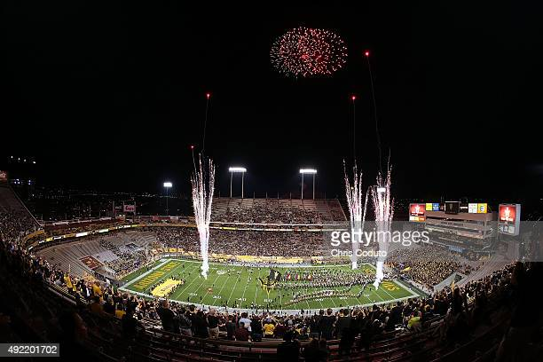 General overview of Sun Devil Stadium as the Arizona State Sun Devils run onto the field before the start of the college football game against the...