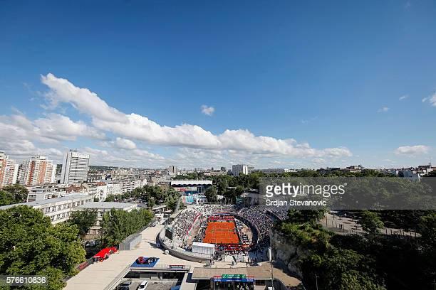 General overview of Tasmajdan Stadium during day two of the Davis Cup Quarter Final match between Serbia and Great Britain on Stadium Tasmajdan on...