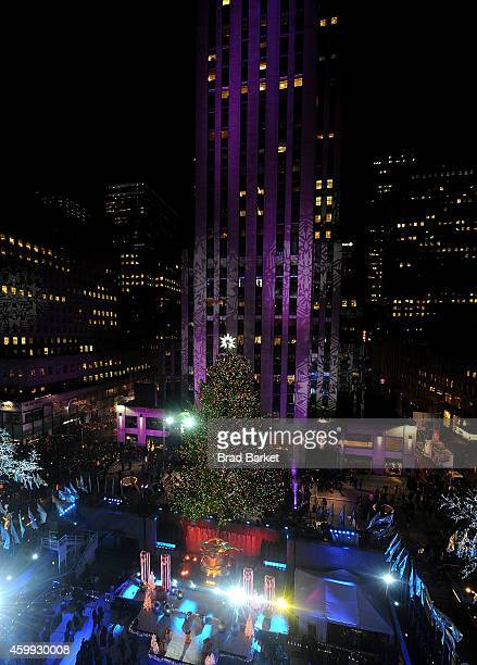 A general overview of the 82nd Annual Rockefeller Christmas Tree Lighting Ceremony at Rockefeller Center on December 3 2014 in New York City