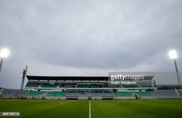 General overview of the Adem-Jashari-Stadium prior to the 2019 UEFA Under21 European Championship qualifier match between Kosovo U21 and Germany U21...