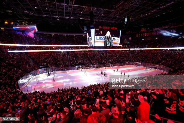 General overview of the arena during the national anthem between the Vegas Golden Knights and the Pittsburgh Penguins on December 14 2017 at TMobile...