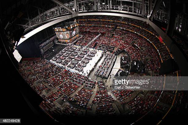 A general overview of the draft floor is seen during Round One of the 2015 NHL Draft at BBT Center on June 26 2015 in Sunrise Florida